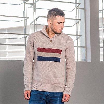 Casaco suéter em tricot com bandeira da Holanda - Bege