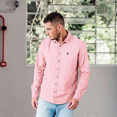 Camisa social manga longa básica masculina de tricoline - Rosa