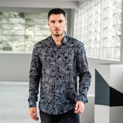 Camisa masculina manga longa estampa floral geométrica - Cinza