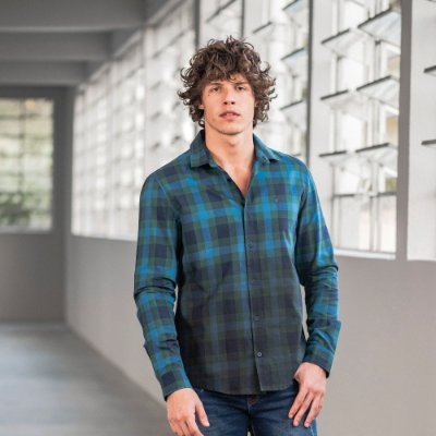 Camisa xadrez masculina manga longa com spray degradê - Azul