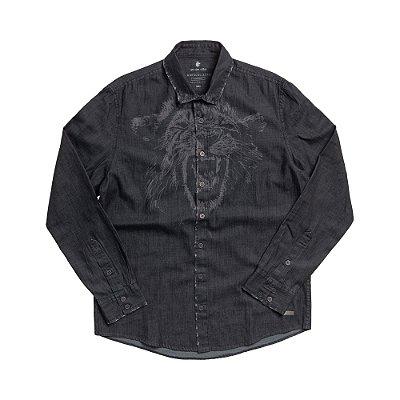 Camisa jeans masculina de manga longa estampa leão à laser - Denim