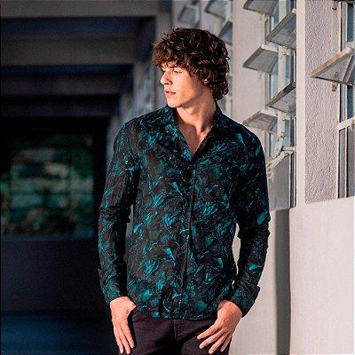 Camisa masculina de manga longa estampa de pétalas - Azul