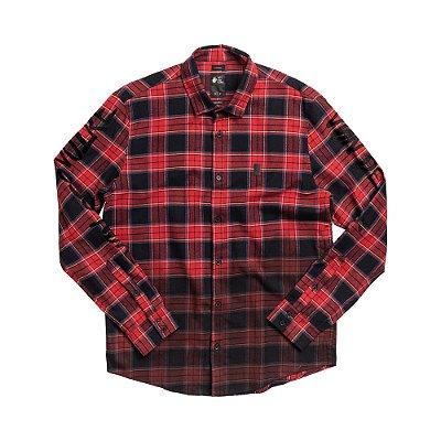 Camisa de flanela xadrez masculina manga longa com lettering - Vermelho