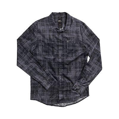 Camisa xadrez masculina de manga longa - Preto