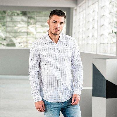 Camisa xadrez masculina de manga longa modelagem tradicional - Branco
