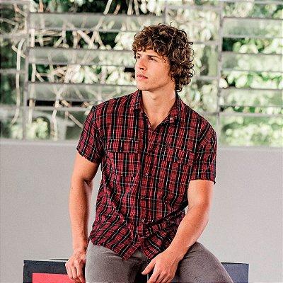 Camisa xadrez masculina em flanela de manga curta com bolsos - Vermelho