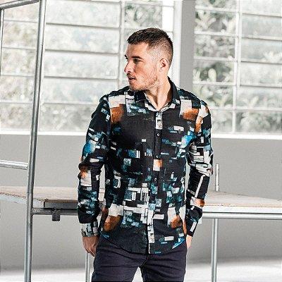 Camisa masculina de manga longa estampa geométrica - Preto