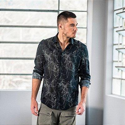Camisa masculina de manga longa estampa geométrica e respingos - Preto