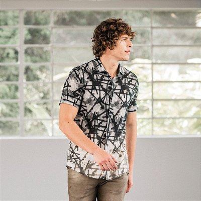 Camisa masculina de manga curta estampa geométrica - Cinza