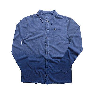 Camisa masculina de malha manga longa com spray degradê - Azul