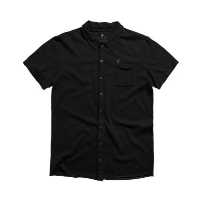 Camisa masculina de malha com manga curta e bolso - Preto