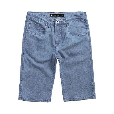 Bermuda jeans masculina slim lavação clara com bolsos - Denim