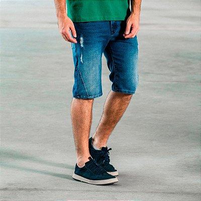 Bermuda jeans masculina slim com recortes laterais - Denim