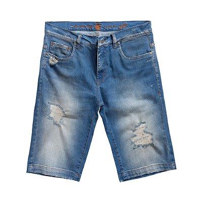 Bermuda jeans masculina efeito desbotado e destroyed - Denim
