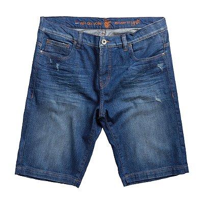 Bermuda jeans masculina efeito desbotado com puídos - Denim