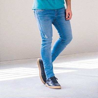 Calça jeans masculina slim lavação clara destroyed - Denim