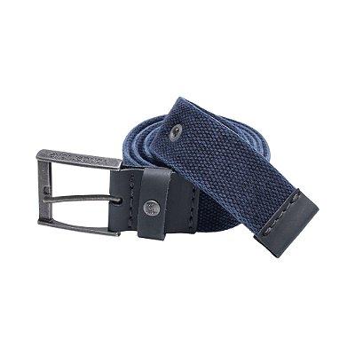 Cinto cadarço largo regulável fivela metálica - Azul