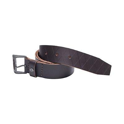 Cinto de couro legítimo regulável com fivela metálica personalizada - Marrom