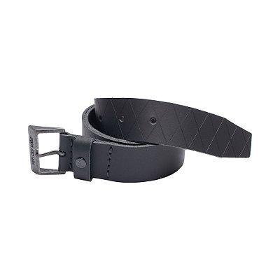 Cinto de couro legítimo regulável com fivela metálica personalizada - Preto