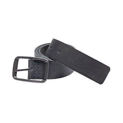 Cinto de couro legítimo regulável com fivela metálica - Preto