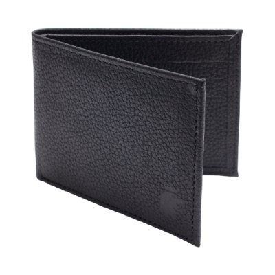 Carteira couro legítimo texturizado compartimento para 6 cartões - Preto