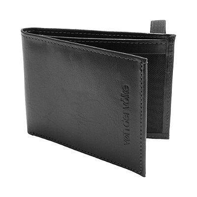 Carteira couro legítimo compartimento para 3 cartões - Preto
