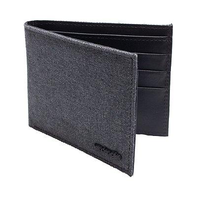 Carteira couro legítimo compartimento para 3 cartões e moedas - Preto