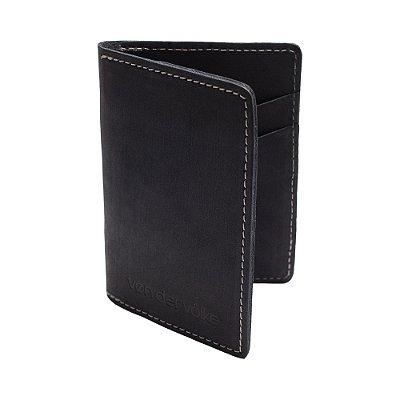 Porta cartões e cnh de couro legítimo - Preto