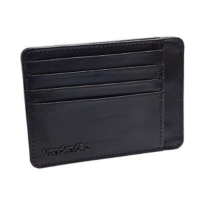 Porta cartões e cnh de couro legítimo detalhe em rebite - Preto