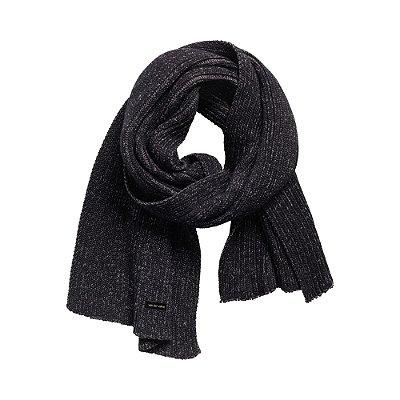 Cachecol em tricot com textura canelada - Preto