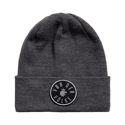 Touca em tricot com 2 patchs intercambeáveis - Cinza