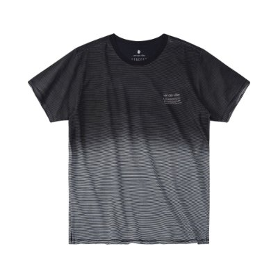 Camiseta masculina listrada com efeito de spray degradê - Preto