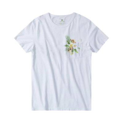 Camiseta masculina com bolso e estampa floral - Branco