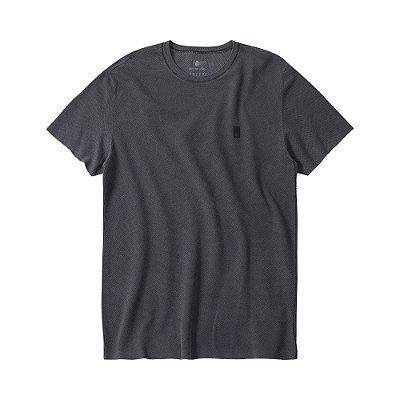Camiseta masculina estonada em malha waffle - Preto