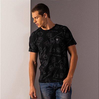 Camiseta masculina estampa padronagem leão Vøn der Völke - Preto
