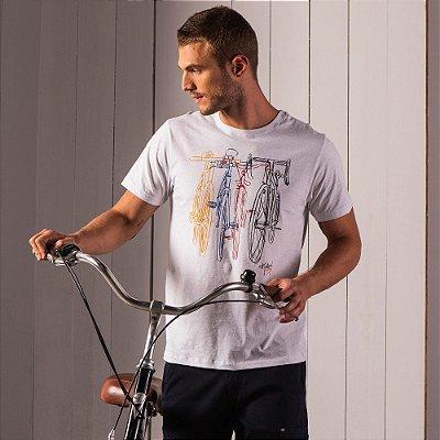 Camiseta masculina malha botonê estampa de bicicletas - Preto
