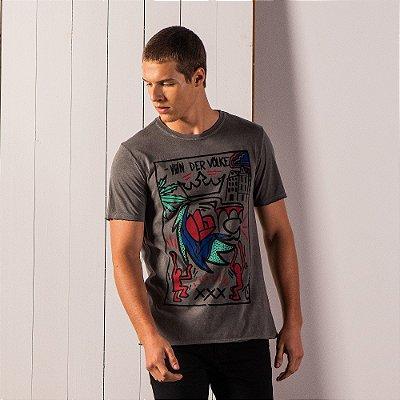 Camiseta masculina estonada estampa estampa leão Keith Haring - Preto