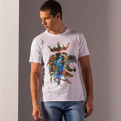 Camiseta masculina estampa leão Vøn der Völke ilustração Amsterdam - Branco