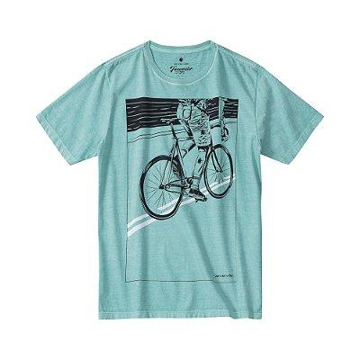 Camiseta masculina estonada de manga curta com estampa de ciclista - Turquesa