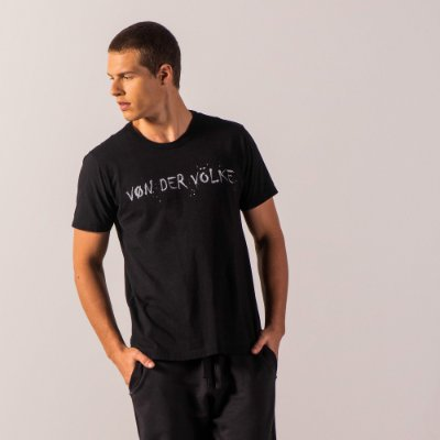 Camiseta masculina dupla face estampa lettering emoções - Preto
