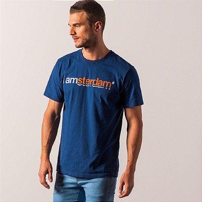 Camiseta masculina estampa lettering I Am Amsterdam - Azul