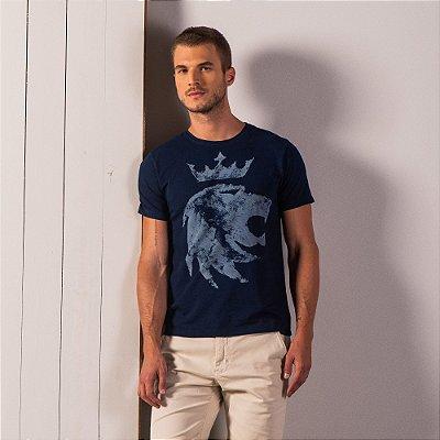 Camiseta masculina estonada estampa leão Vøn der Völke - Azul