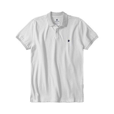 Camisa polo masculina básica em piquet gola em retilínea - Branco
