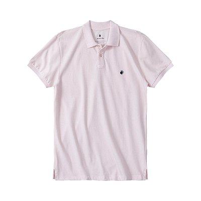 Camisa polo masculina básica em piquet gola em retilínea - Rosa
