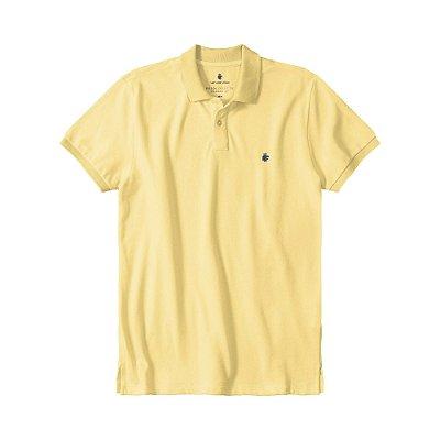 Camisa polo masculina básica em piquet gola em retilínea - Amarelo