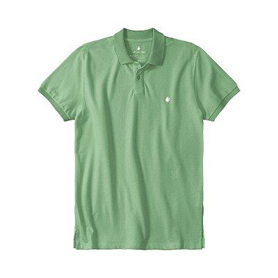 Camisa polo masculina básica em piquet gola em retilínea - Verde