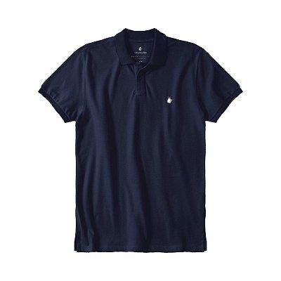 Camisa polo masculina básica em piquet gola em retilínea - Azul