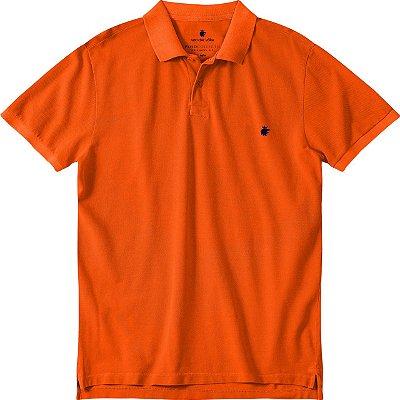 Camisa polo masculina básica estonada em piquet - Laranja