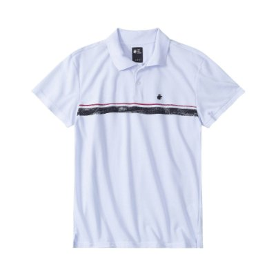 Camisa polo masculina em piquet com listra frontal - Branco