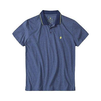 Camisa polo masculina em meia malha mescla e gola retilínea listrada - Azul